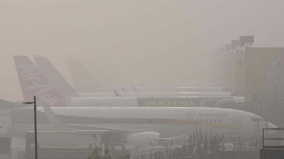 Dense fog and low visibility at the Indira Gandhi International Airport led to the cancellation of many flights in New Delhi.