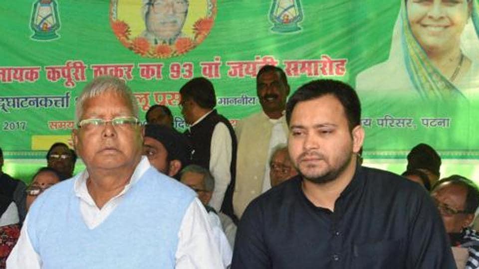 Rashtriya Janata Dal chief Lalu Prasad with former Bihar deputy chief minister Tejashwi Yadav.