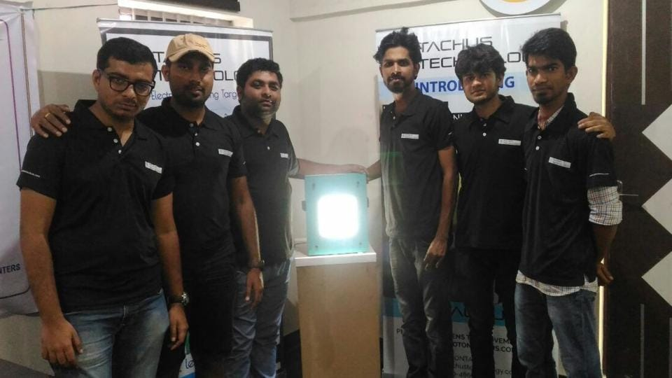 Rahul Mishra (third from left) alongwith his team in Bengaluru.