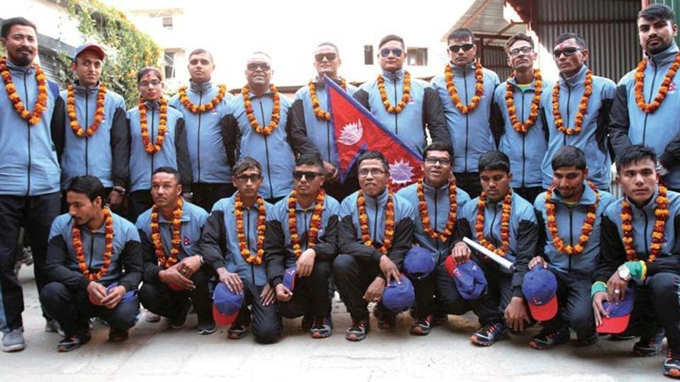 The Nepal blind cricket team left by road for Pakistan to take part in the World Cup.