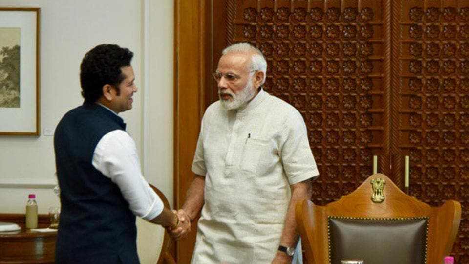 A file photo of Rajya Sabha member Sachin Tendulkar meeting Prime Minister Narendra Modi.