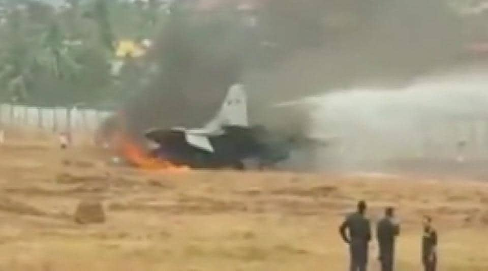 Fire on the MiG-29K aircraft being extinguished at Goa's Dabolim airport on Wednesday.