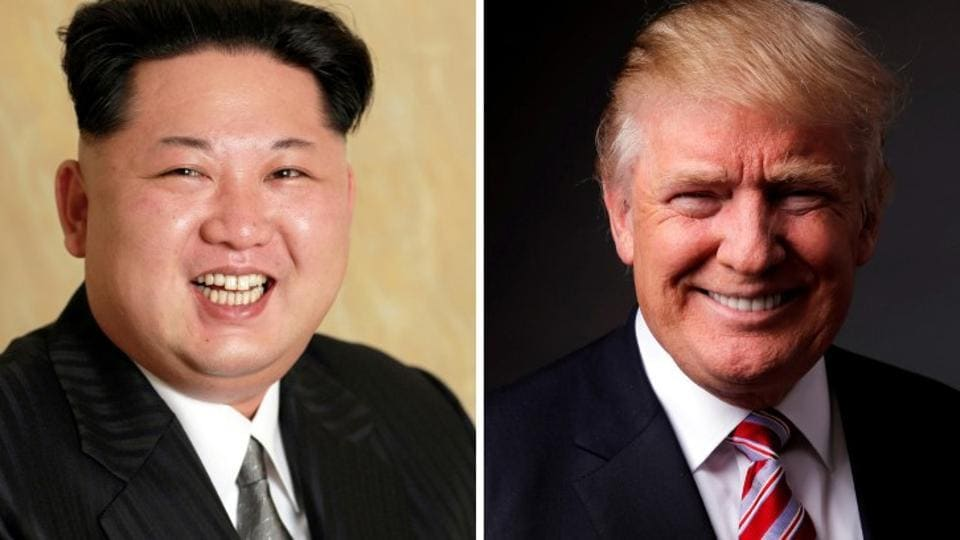 A combination photo shows a Korean Central News Agency (KCNA) handout of Kim Jong Un released on May 10, 2016, and Donald Trump posing for a photo in New York City on May 17, 2016. REUTERS/KCNA handout via Reuters/Files