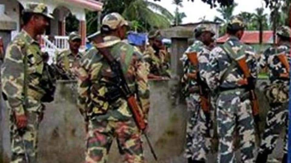 CRPF personnel keeps vigil in Kokrajher district in the wake of attacks on Adivasis by Bodo militants. (PTI photo)