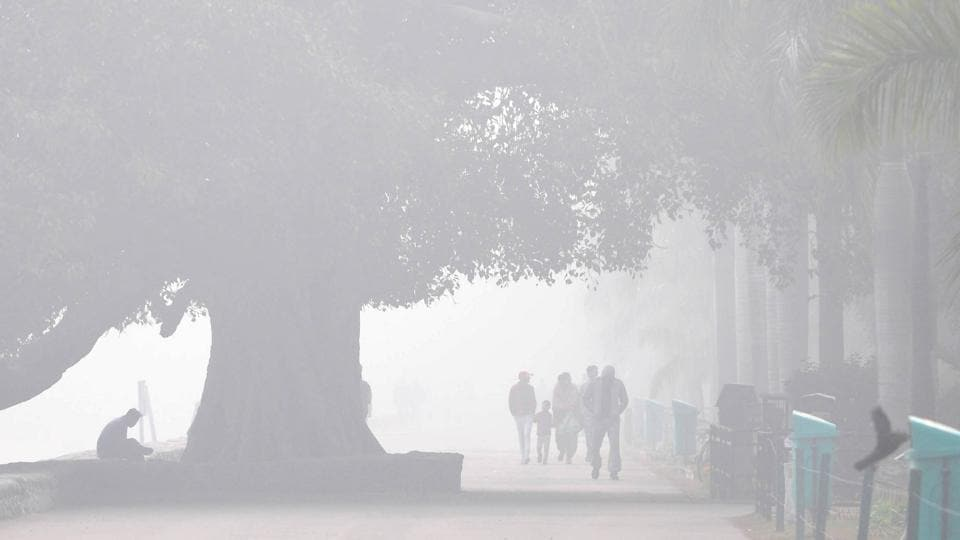 Sukhna Lake shrouded in dense fog around 10am in Chandigarh on Tuesday.