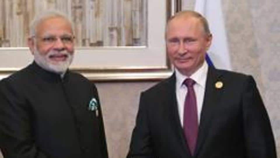 PM Narendra Modi with Russian President Vladimir Putin during the BRICS Summit in Xiamen on September 4, 2017.