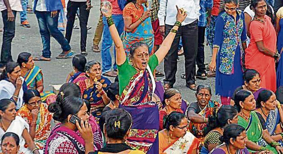 Women  at a protest in Saki Naka, Mumbai on Wednesday.
