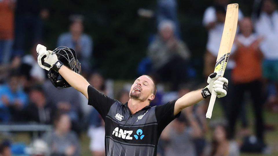 New Zealand's Colin Munro celebrates his century during the third T20 international cricket match between New Zealand and the West Indies at Bay Oval in Mount Maunganui on January 3, 2018.