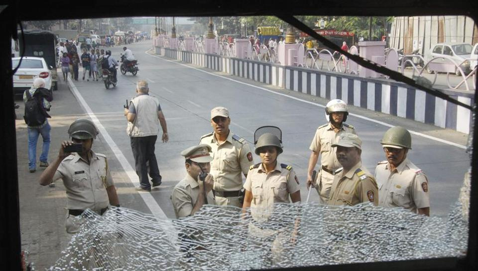 A bus vandalised during a protest at Pune's Dandekar road following clashes between Dalit and Maratha groups on Wednesday.