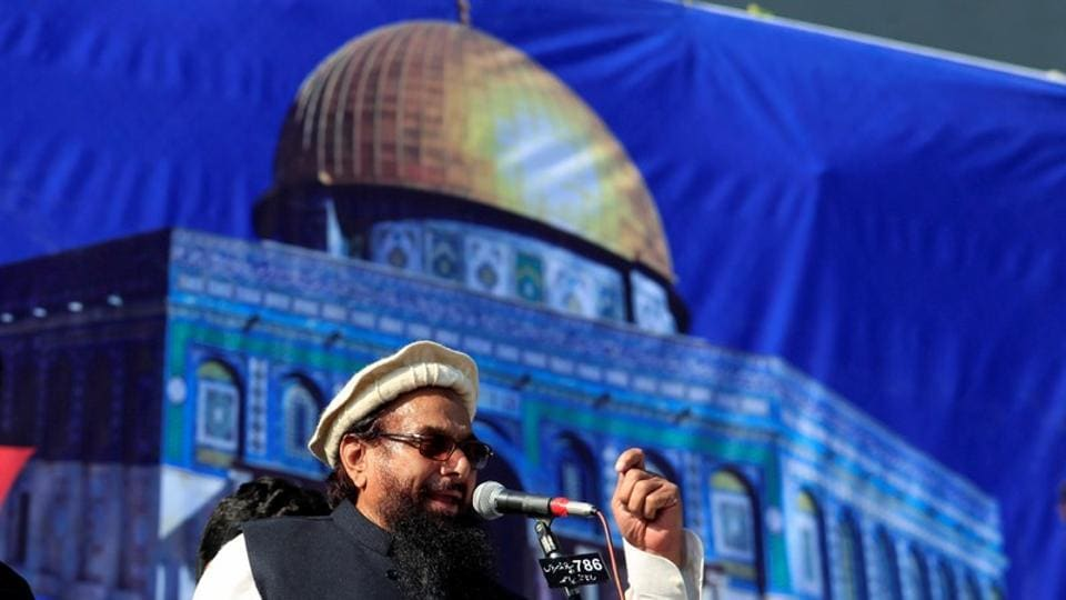 Hafiz Saeed , chief of Jamaat-ud-Dawa (JuD), during a gathering to protest against Trump's decision to recognise Jerusalem as the capital of Israel, in Rawalpindi, December 29, 2017