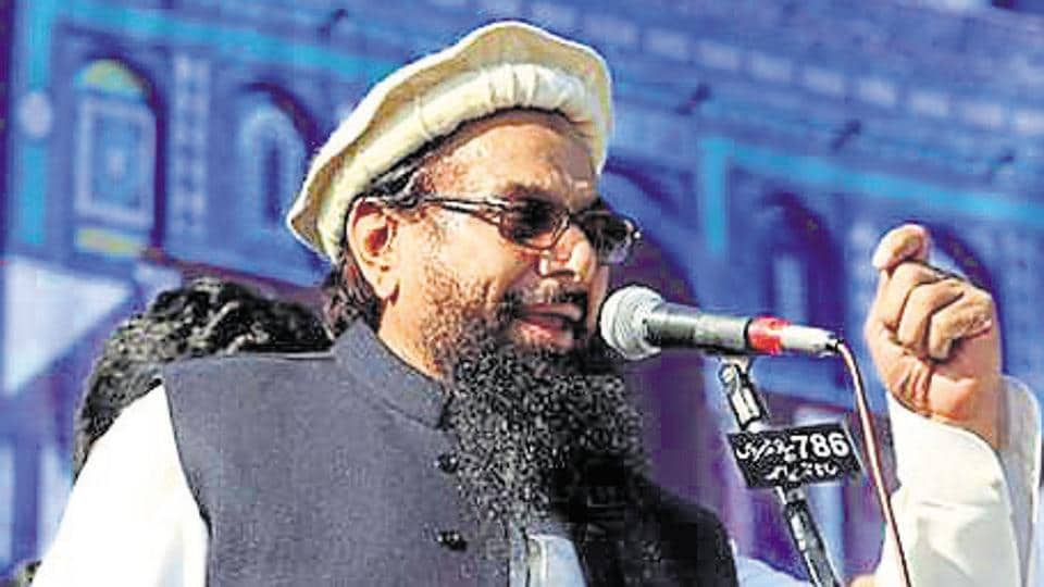 Hafiz Saeed, chief of the Jamaat-ud-Dawa, speaks to supporters during a gathering to protest against USPresident Donald Trump's decision to recognise Jerusalem as the capital of Israel, in Rawalpindi, on December 29.
