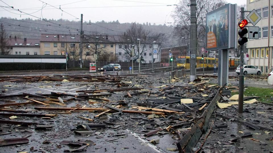 Debris of a roof lies in a street in Stuttgart, Germany where the storm has been baptised Burglind, after the region was hit by a depression. (AFP)