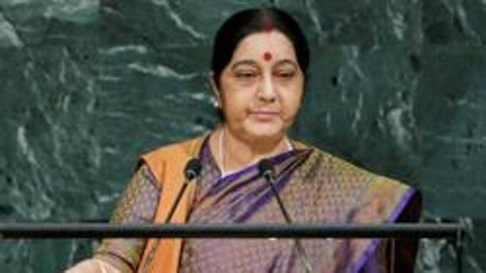 External affairs minister Sushma Swaraj addressed the 72nd United Nations General Assembly in Hindi on September 23, 2017.
