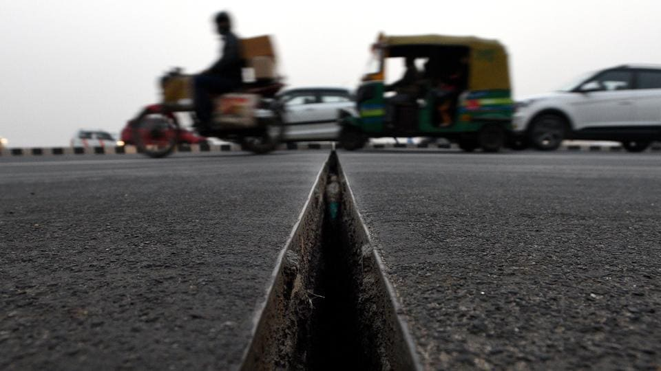 Gaps were spotted on Akshardham flyover in New Delhi on Tuesday.