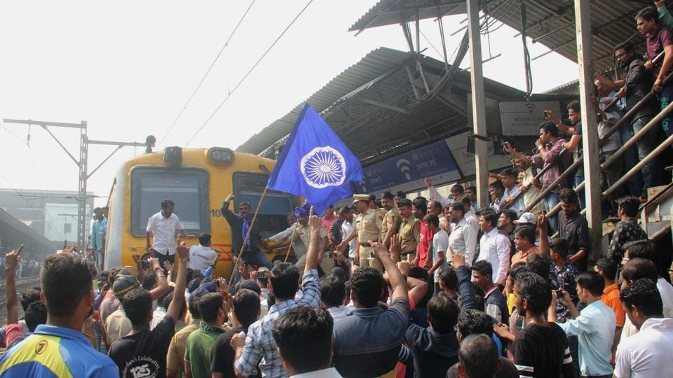 Rail Roko at Dadar Station by Dalits activists, in Mumbai, on Wednesday.