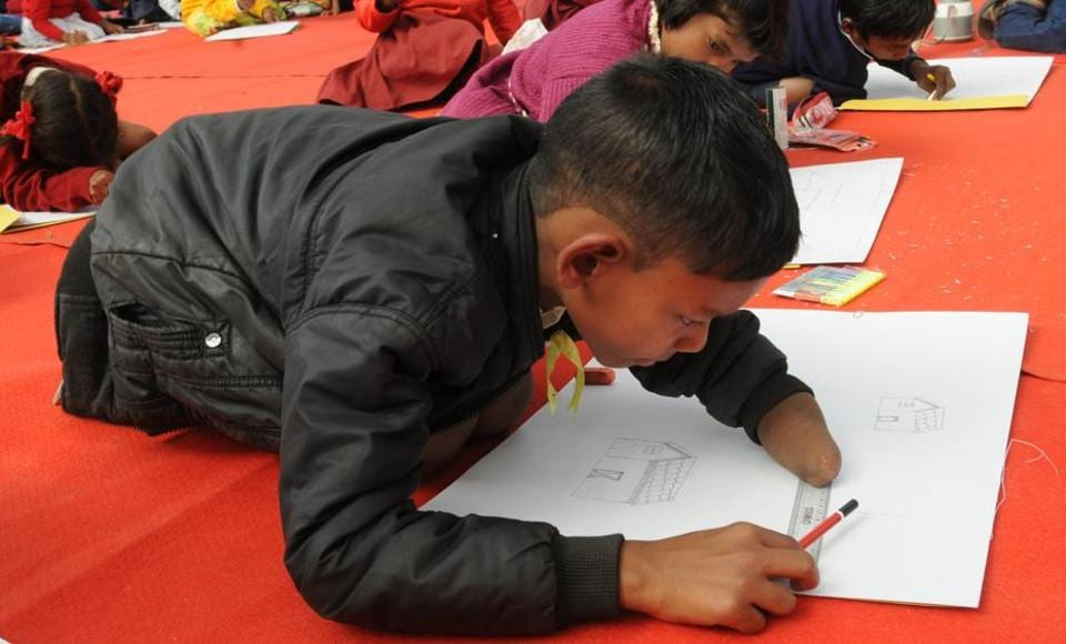 Interest in art should always be encouraged in children as creativity can lead to a fulfilling career. Seen here, a specially abled child participating in a state level painting competition organised by the Jharkhand state council for child welfare in Ranchi recently.
