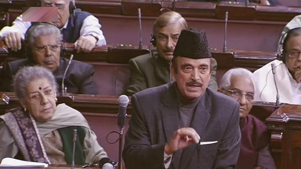 Opposition leader Ghulam Nabi Azad speaks in the Rajya Sabha in New Delhi on Wednesday.