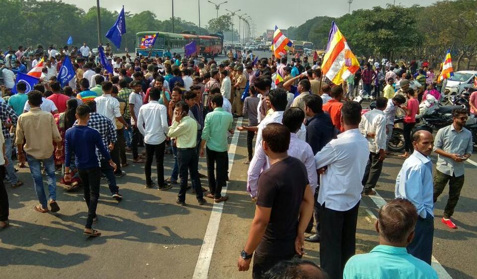 There were Dalit protests across Mumbai, Navi Mumbai and Thane on Wednesday.
