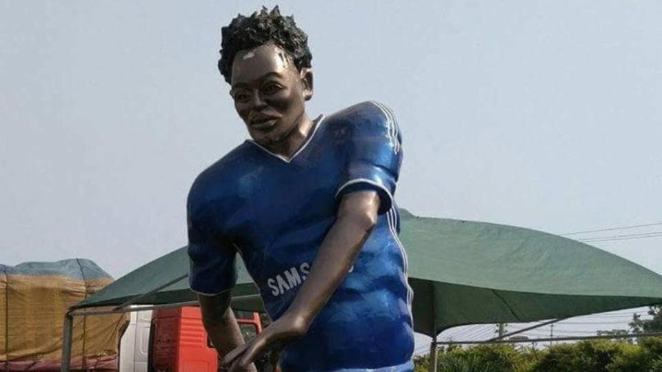 This statue of Michael Essien was unveiled in Ghana yesterday, sending social media into overdrive and inviting plenty of comparisons to the statues of Diego Maradona and Cristiano Ronaldo.