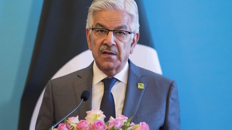 Pakistan's Foreign Minister Khawaja Muhammad Asif speaks during a press conference in Beijing on December 26, 2017.