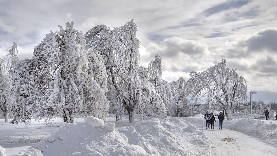 Visitors walk at a frozen Niagara Falls in view from Stedman's Bluff on Goat Island of the American Falls on January 02, 2018. Visitors at Niagara Falls State Park are currently being treated to a winter wonderland as mist from the falls coats trees, walkways, cliffs in a dreamy, brilliant white. (James Neiss / The Niagara Gazette via AP)