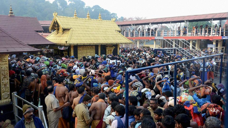 Huge crowd of devotees at Ayyappa Temple in Sabarimala.
