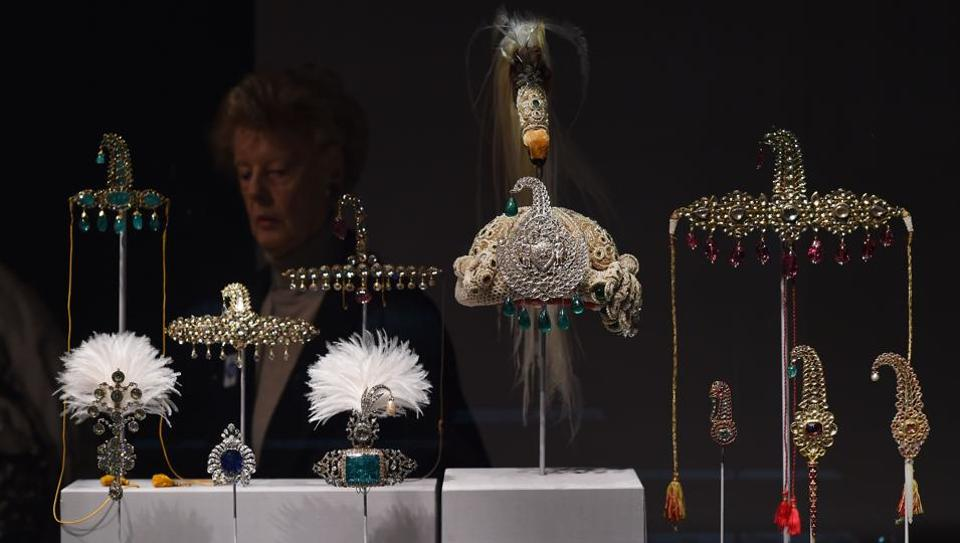 File photo shows jewelled objects on display during a press preview of an exhibition titled Treasures from India, Jewels from the Al-Thani collection at the Metropolitan Museum of Art in New York.