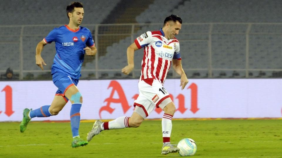ATK's scorer Robbie Keane in action against FC Goa in an Indian Super League (ISL) match in Kolkata on Wednesday.