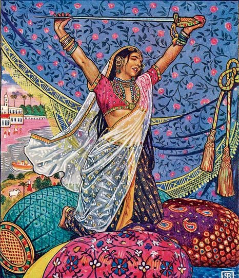 Miss Laila Armed and Dangerous! This illustration by Byam Shaw originally accompanied The Garden of Kama and Other Love Lyrics from India (1901) by Adela Nicolson.