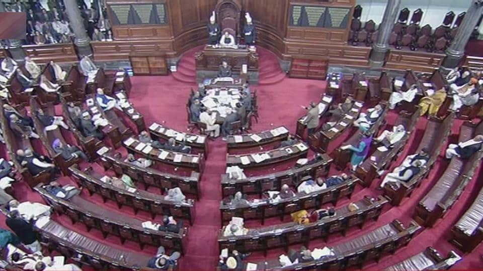 A scene in the Rajya Sabha in New Delhi on Thursday.