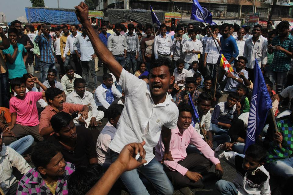Dalit community protesters during the Maharashtra Bandh, January 3, 2017