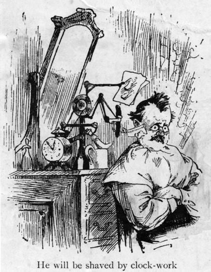 Clock-work innovation: One of a cartoon series from 1900 on the inventions that Thomas Edison would 'without doubt soon perfect'!