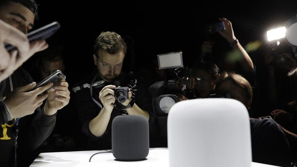 The HomePod speaker is photographed in a a showroom during an announcement of new products at the Apple Worldwide Developers Conference in San Jose, California.