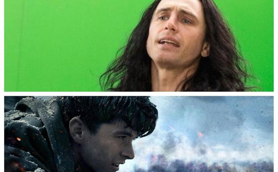James Franco as Tommy Wiseau in the Disaster Artist and Fionn Whitehead in Dunkirk.