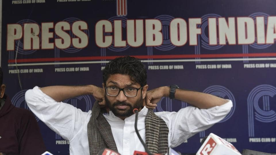 Jignesh Mevani at Press club, New Delhi denied making any inflammatory speech in Pune and said he was being targeted by the BJP and the RSS. (Vipin Kumar / HT Photo)