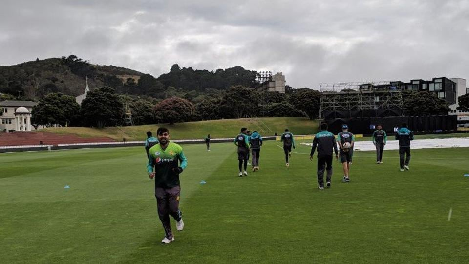 Pakistan players train ahead of their 1st ODI against New Zealand in Wellington.