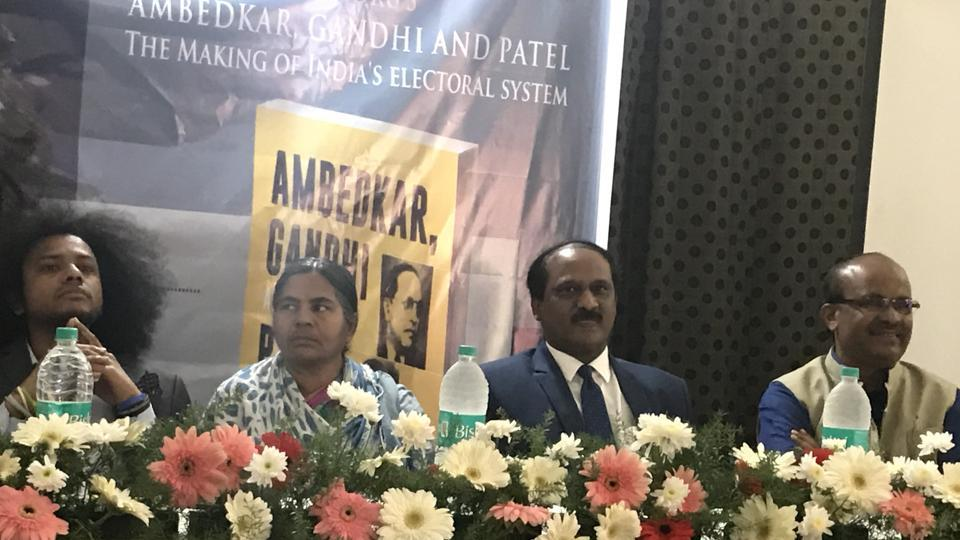 Author Raja Sekhar Vundru (left) is a scholastic expert on Ambedkar. Also present are (from left) Suraj Yengde, mother of late Rohit Vemula, Radhika Vemula  and Mallepalli Laxmaiah.