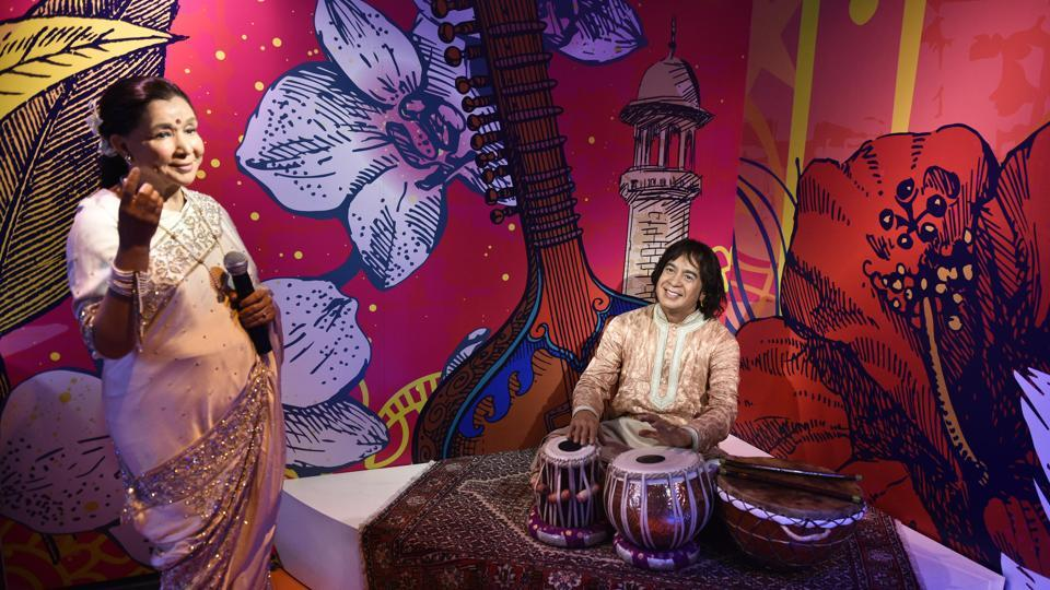 Figures of Asha Bhosle along with Zakir Hussain at Madame Tussauds wax musuem in Delhi. The first Madame Tussauds attraction was founded in 1835 on Baker Street in London. Operational for over 200 years, today it has 23 flagship sites globally. (Sanchit Khanna / HT Photo)