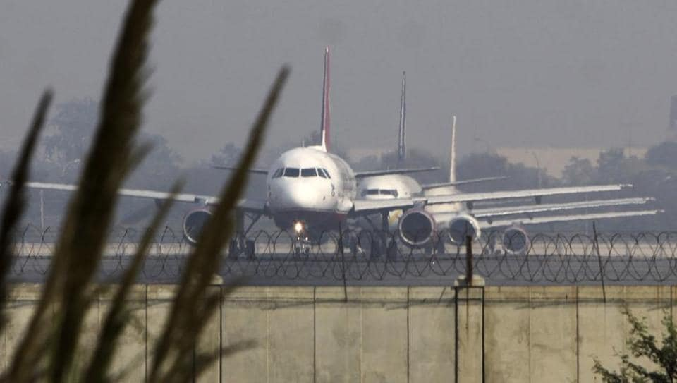 Flights prepare for takeoff at the IGI Airport in New Delhi.