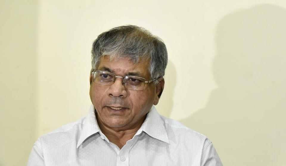 Prakash Ambedkar addressing media during the press conference in Mumbai on January 4.