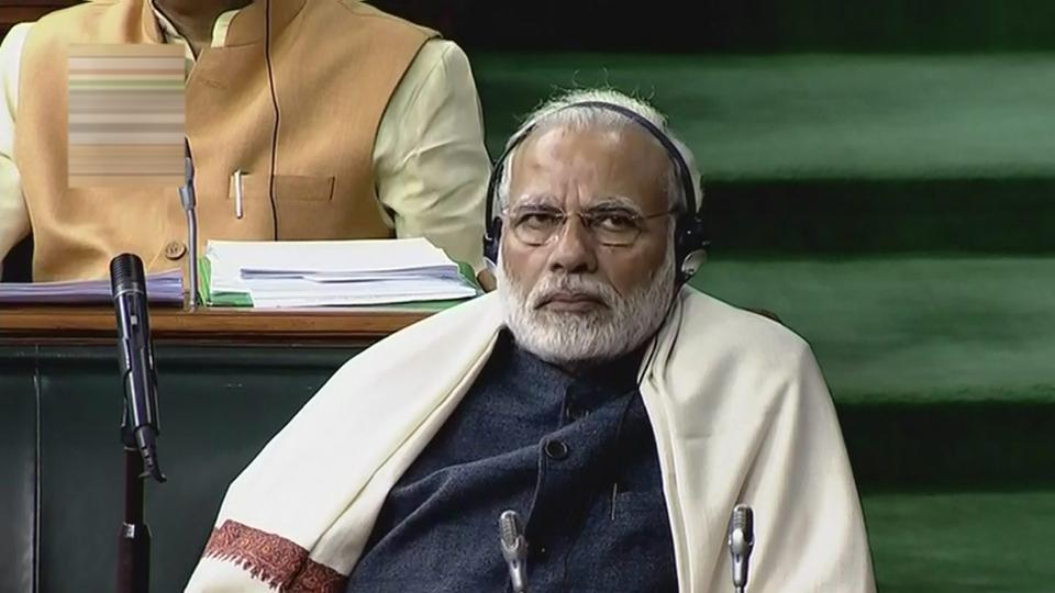PM Narendra Modi attends the Lok Sabha on the last day of the Parliament winter session. (PTI / TV Grab)