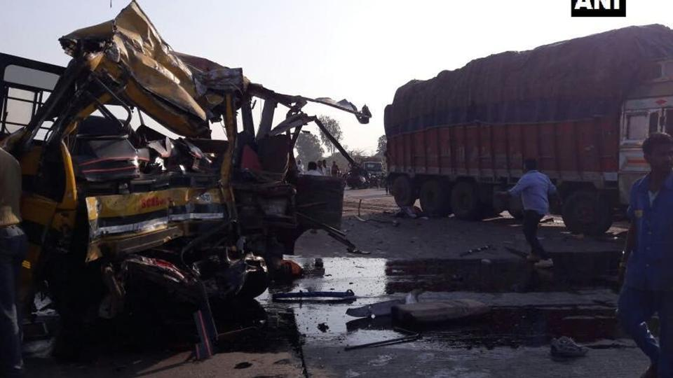 The school bus rammed into a truck at the Bicholi Hapsi bridge on Indore bypass road.