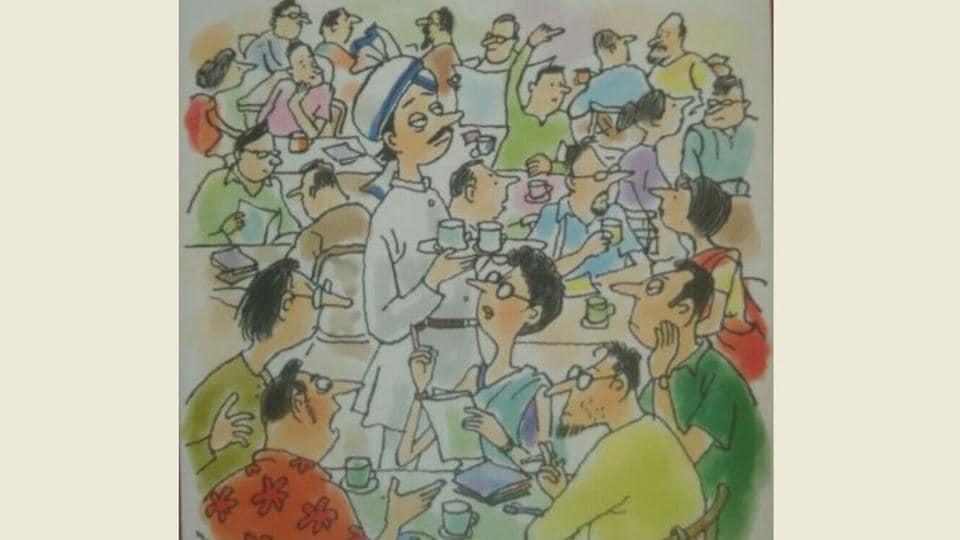 Cover sketch of Bhaswati Bhattacharya's book 'Much Ado Over Coffee' specially made by Debashish Deb.