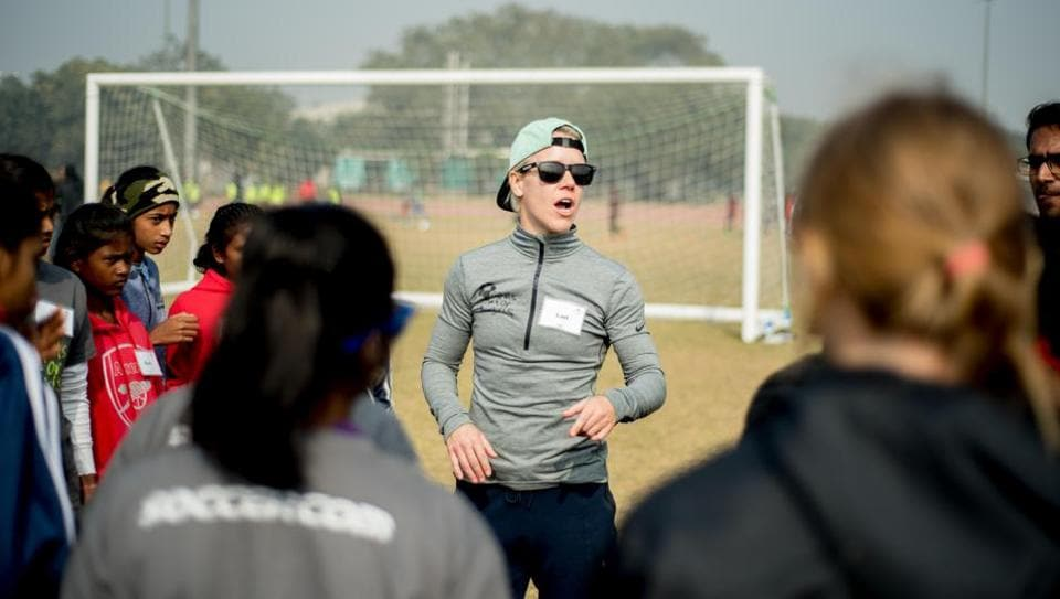 Former US women's national football team midfielder Lori Lindsey is currently in India for the 'Goals for Girls' leadership summit.