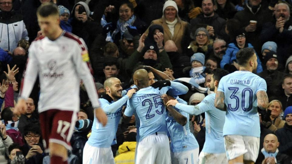 Image result for city 4-1 burnley fa cup celebration