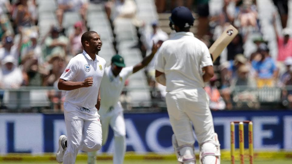 Vernon Philander sent back Cheteshwar Pujara for 26 as South Africa struck immediately after the lunch break. (AFP)