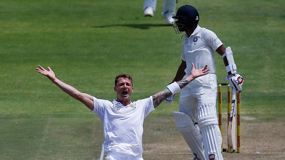 Dale Steyn got the big wicket of Wriddhiman Saha for 0 as India lost wickets at regular intervals.  (AFP)