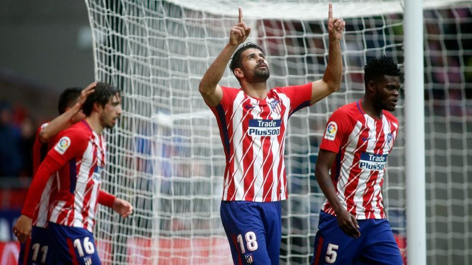 Atletico Madrid's Spanish forward Diego Costa celebrates a goal during the La Liga match against Getafe CF at the Wanda Metropolitano stadium in Madrid on Saturday.