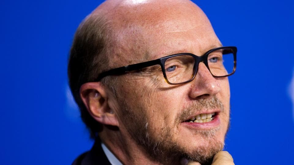Director Paul Haggis speaks during the Third Person news conference at the 38th Toronto International Film Festival in Toronto.