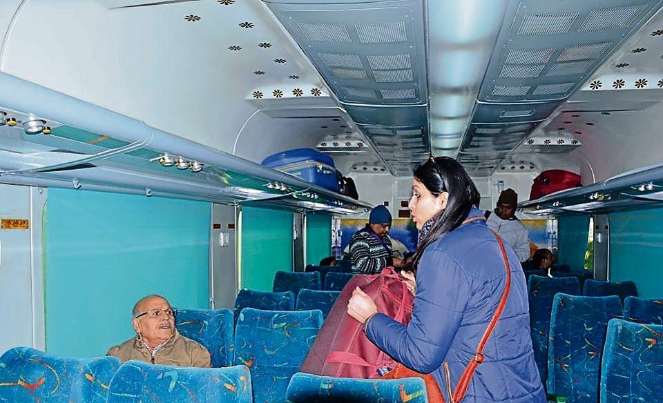 The revamped Shatabdi leaves for New Delhi at the Chandigarh railway station on Saturday.